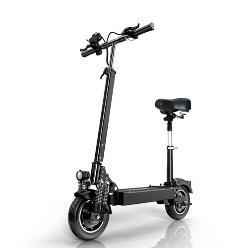 JANOBIKE T10 Pro Folding Off_Road Electric Scooter 10 inch 23Ah Battery 1200W * 2 Motor 10 Inch Wheels Aluminum Alloy Body Max Speed 70km_h up to 80KM Range Hydraulic brake with seat  Black