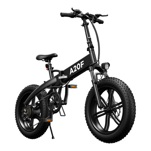 ADO A20F Off_road Electric Folding Bike 20*4.0 inch 500W Brushless DC Motor SHIMANO 7_Speed Rear Derailleur 36V 10.4Ah Removable Battery 35km_h Max speed Pure power up to 50km Range Aluminum alloy Frame  Black