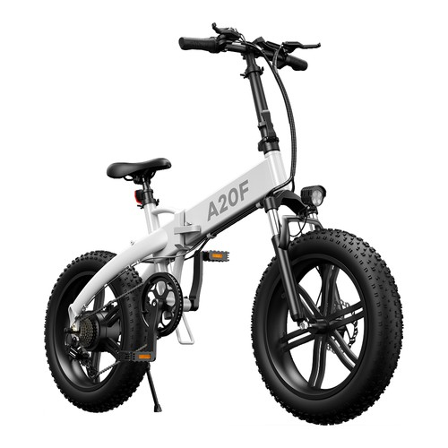 ADO A20F Off-road Electric Folding Bike 20*4.0 inch 500W Brushless DC Motor SHIMANO 7-Speed Rear Derailleur 36V 10.4Ah Removable Battery 35km/h Max speed Pure power up to 50km Range Aluminum alloy Frame - White