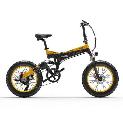 BEZIOR XF200 Folding Electric Bike 48V 15Ah Battery 1000W Motor 20x4.0 inch Fat Tire Aluminum Alloy Frame Shimano 7-speed Shift Max Speed 40km/h 130KM Power-assisted mileage Range LCD Display IP54 Waterproof - Black Yellow
