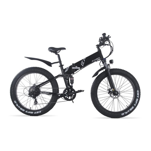 KAISDA K3 26*4.0 inch Fat Tire Off-road Folding Electric Moped Folding Bike Mountain Bicycle 500W Motor SHIMANO 7-Speeds Derailleur LCD Display 10Ah Battery Max Speed 32km/h Aluminum alloy Frame - Black