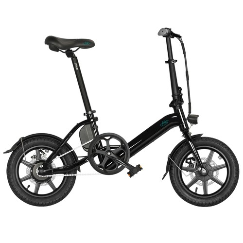 FIIDO D3 Pro Folding Electric Moped Bike 14 Inch City Bicycle Commuter Bike Max 25km/h Three Riding Modes 7.5Ah Lithium Battery Aluminium Alloy Body - Black