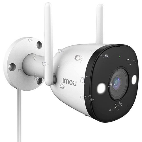 Dahua IMOU Bullet 2E Outdoor WiFi Security Camera 1080P HD Night Vision IP67 Weather Resistant Notification of Alarms Home Company Security Monitor - White
