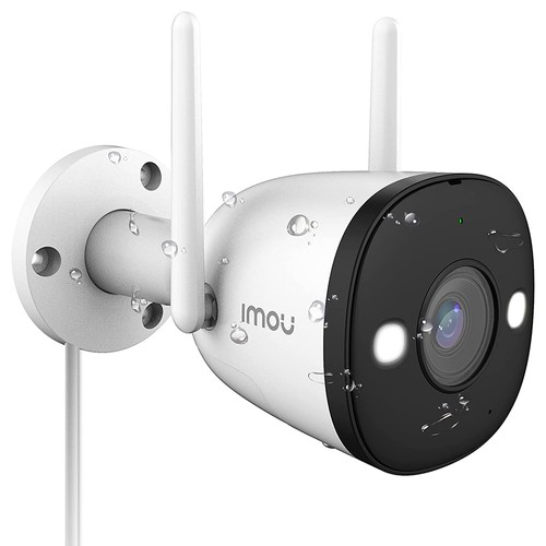 Dahua IMOU Bullet 2E 4MP WiFi Security Camera 4 Night Vision Modes Human Detection IP67 Weather Resistant H.265 Compression Home Company Security Monitor - White