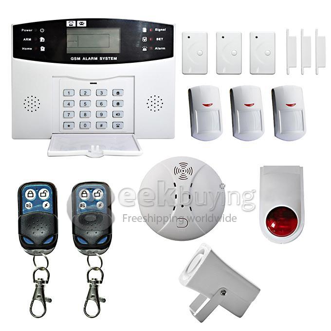 LCD Security Wireless GSM Auto Dial Home House Burglar Intruder Fire Alarm