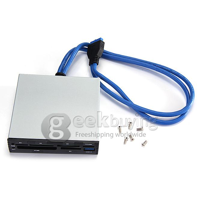 NEW 3.5 Inch USB 3.0 HUB Internal Card Reader Micro SD CF SDHC WITH CABLES
