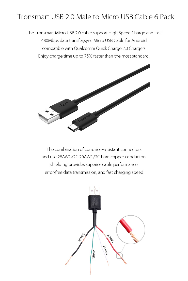 Tronsmart Micro Usb Cables Usb To Micro Usb Sync Chaing Cable