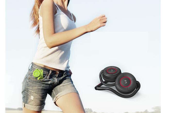 Moudio M100 Bluetooth vezeték nélküli fejhallgató BT4.0 sport fejhallgató a Fitness Monitor támogató csoport csevegésével rózsaszín