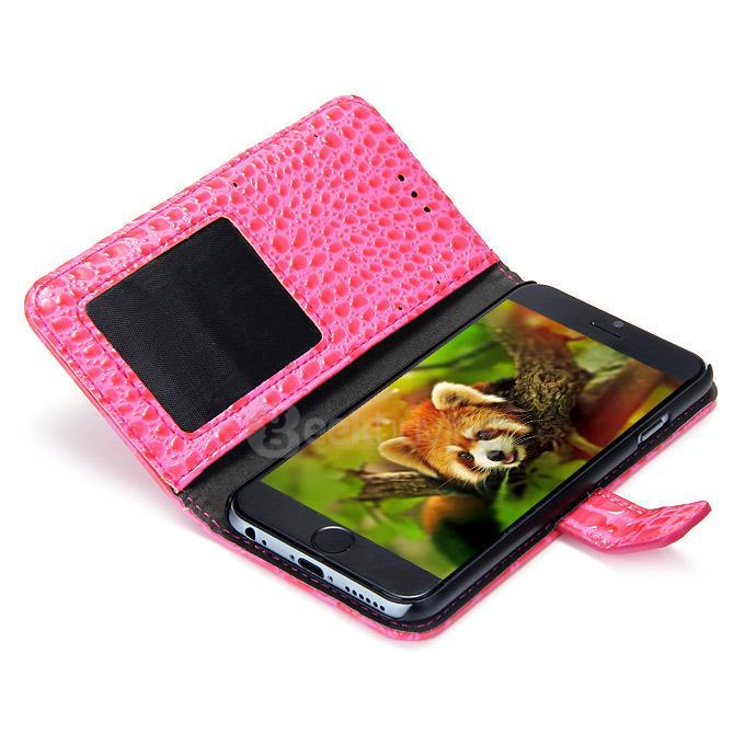 Luxus Krokodil PU pénztárca állvány bőr tok Apple iPhone 6 4.7inch - Rose