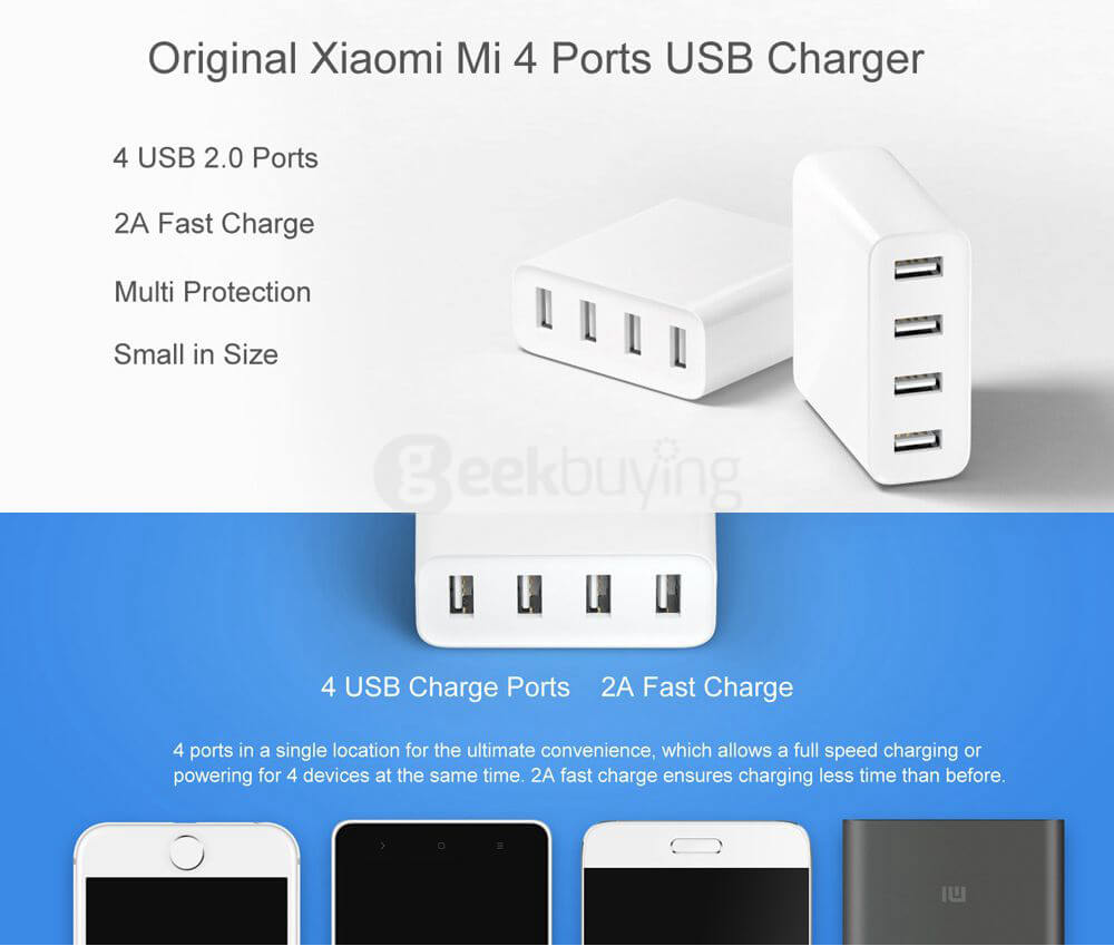 Oryginalna ładowarka Xuomi Mi 4 USB Ładowarka 2A Szybkie ładowanie 35W Ładowarka USB 2.0 o dużej mocy biała