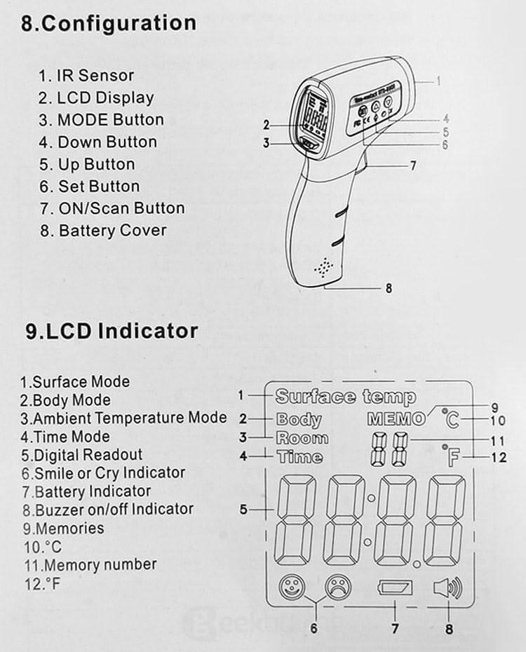 UV-8808 Инфрачервен пистолет за термометър Безконтактно устройство за измерване на температура - бяло