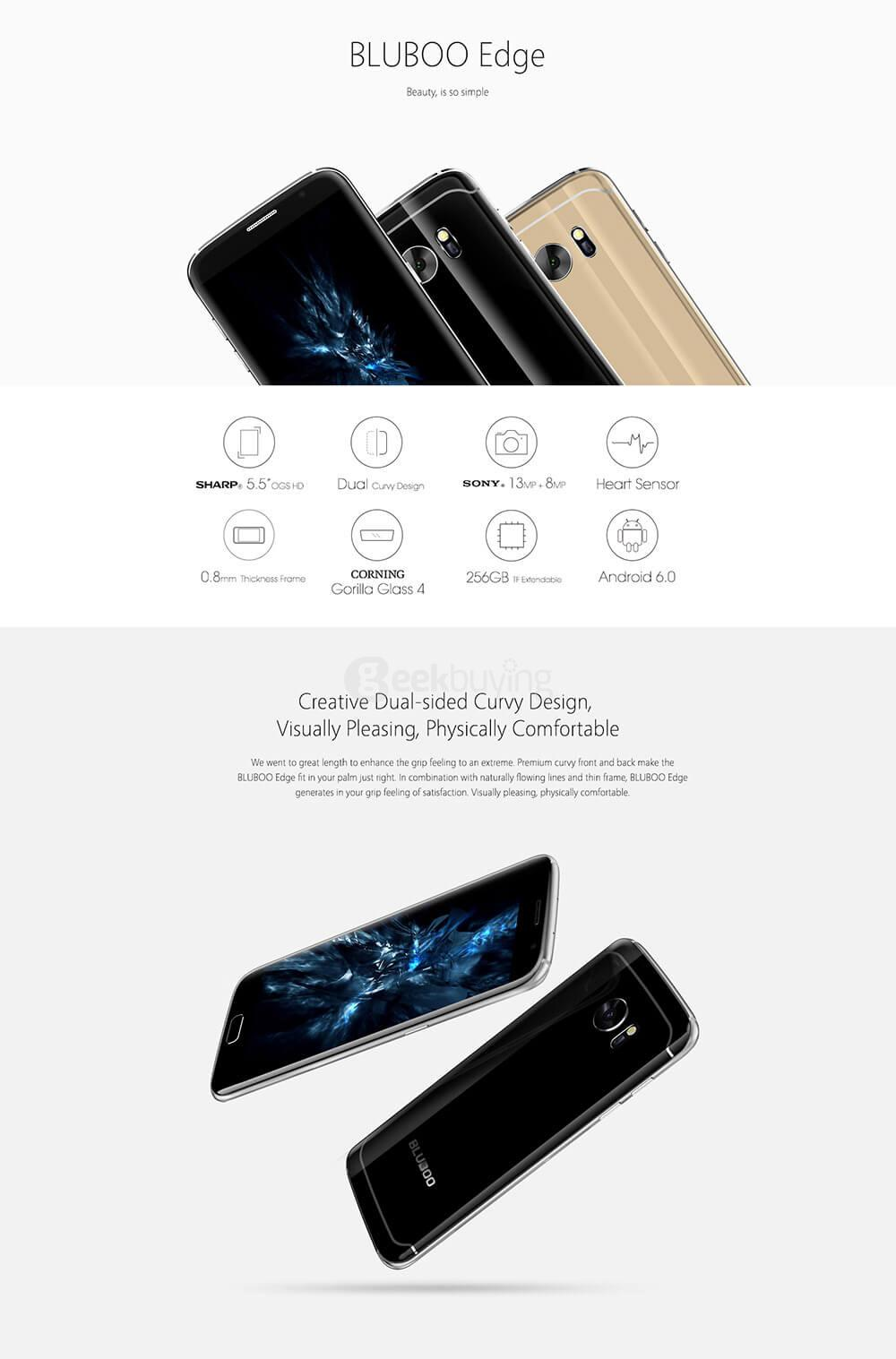 BLUBOO Edge 5 5inch HD Android 6 0 4G LTE Smartphone MT6737 Quad Core  1 3GHz 2GB RAM 16GB ROM 13 0MP Touch ID Heart Sensor - Black