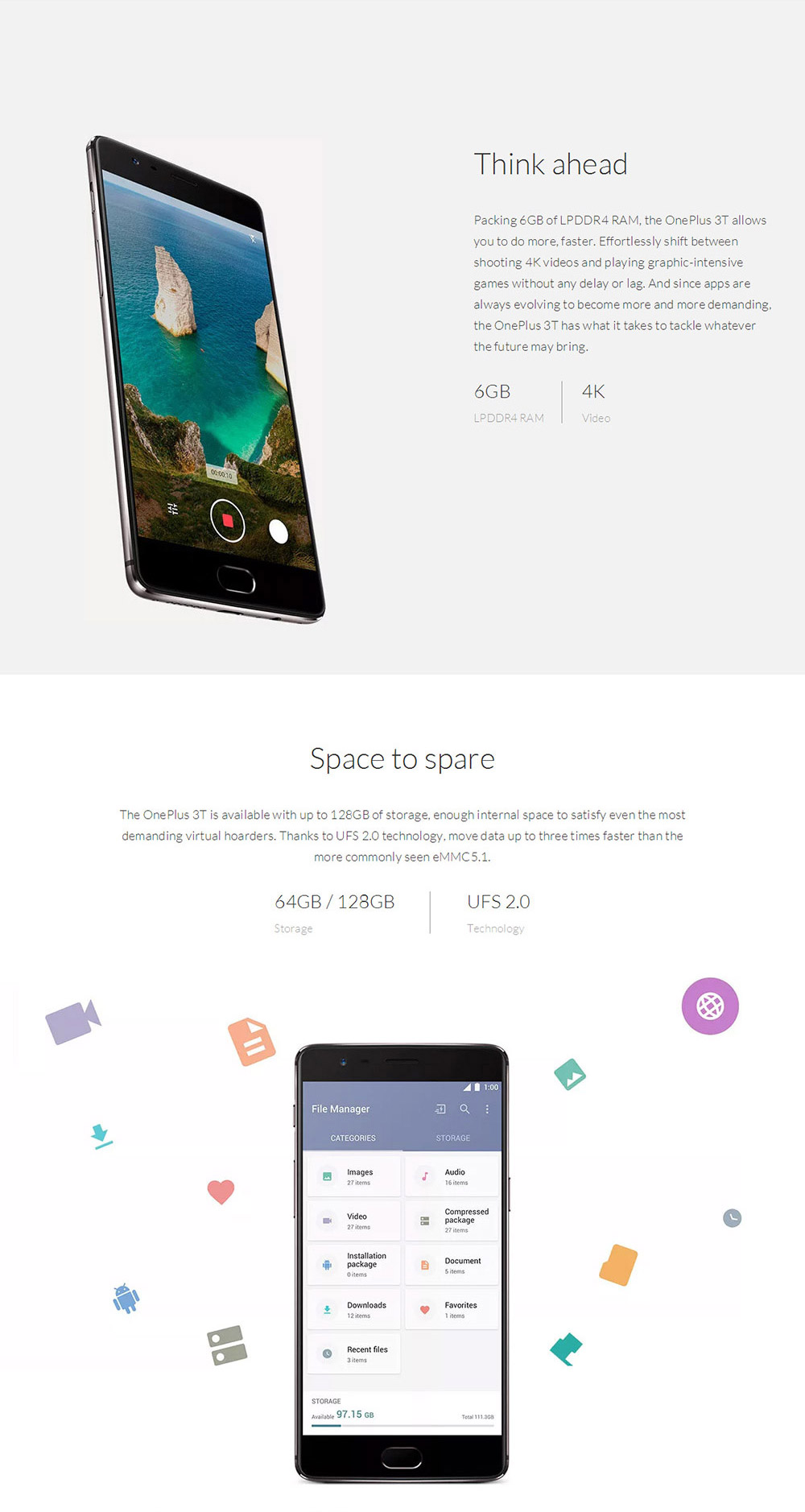 ONEPLUS 3T(A3010) 5.5 Inch AMOLED FHD 2.5D Corning Gorilla Glass 4 Screen 6GB RAM 128GB ROM 16.0MP+16.0MP Cam Qualcomm Snapdragon 821 Android 6.0 OS Smartphone  Dash Charge Touch ID NFC Type-C- Black
