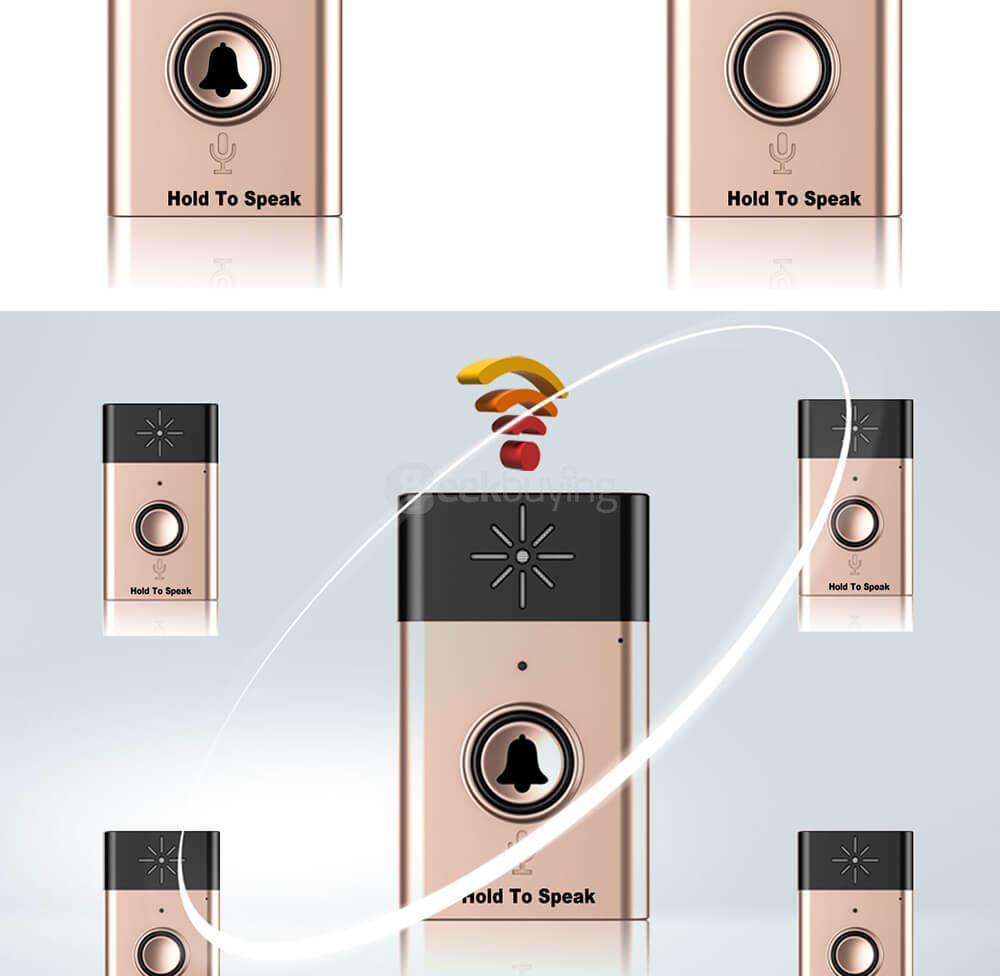 H6-1 Interphone vocal sans fil à DEL - Argent