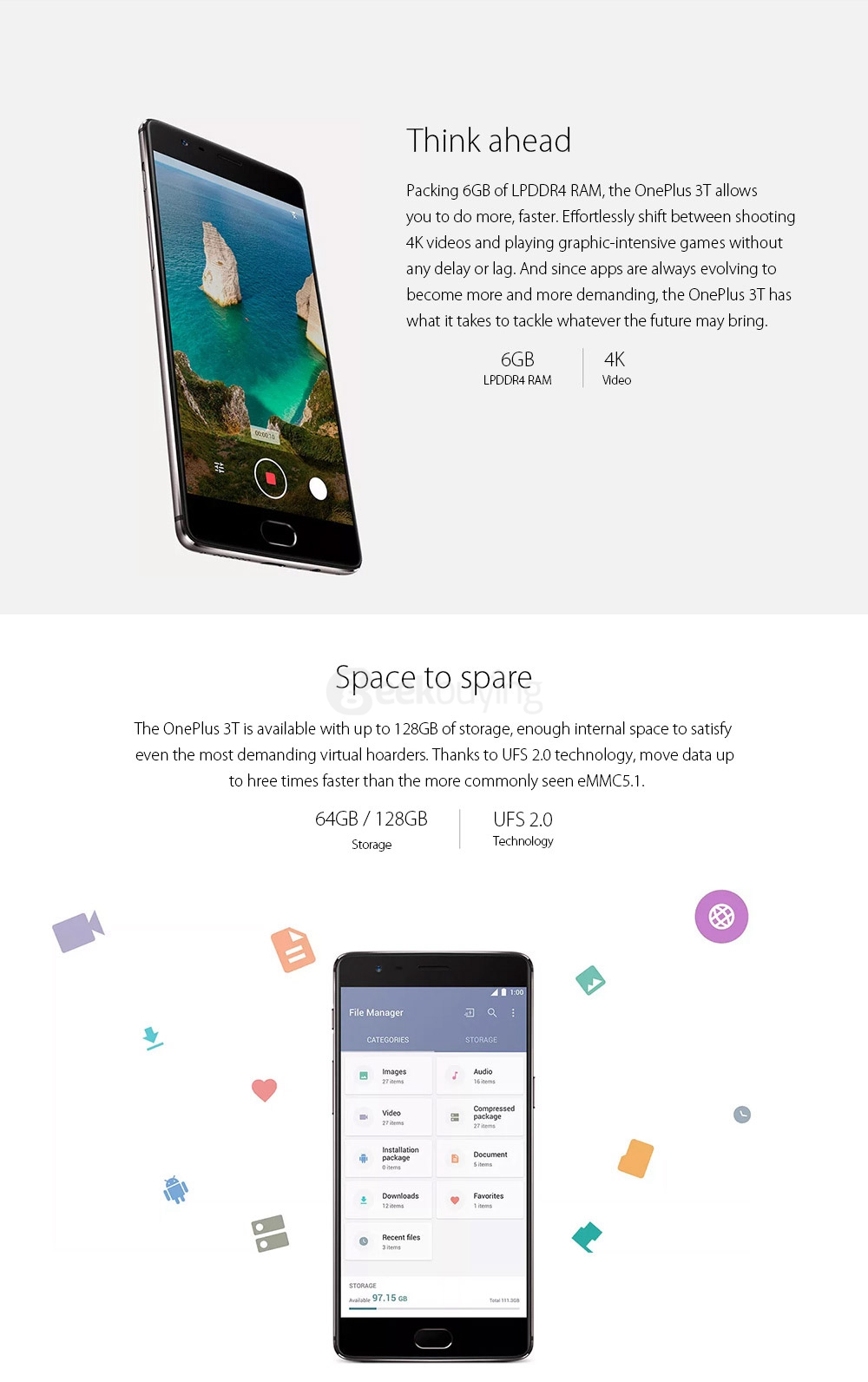 [HK Stock][EU Version]ONEPLUS 3T(A3003) 5.5inch AMOLED FHD Oxygen OS Smartphone Qualcomm Snapdragon 821 2.35GHz Quad Core 6GB 64GB 16.0MP+16.0MP Dash Charge Touch ID NFC Type-C - Gunmetal