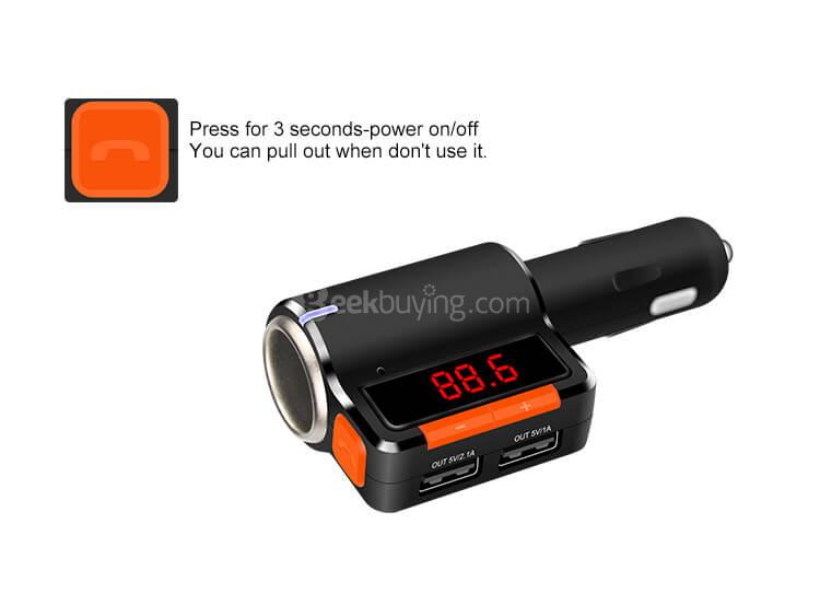 Dual USB Bluetooth MP3 Player Car Hands-free FM Transmitter BC09 Car Charger USA
