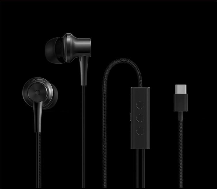 Original Xiaomi ANC Earphones Hybrid Type-C Charging-Free Mic Line Control for Xiaomi Mi6 MIX Note2 Mi5s /Plus Mi5 - Black