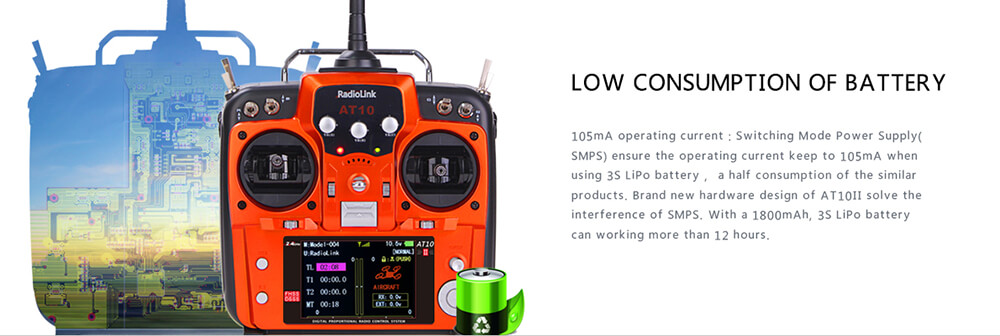 Radiolink AT10II 2.4G 12CH DSSS&FHSS Transmitter with R12DS Receiver Mode 2 - Gray