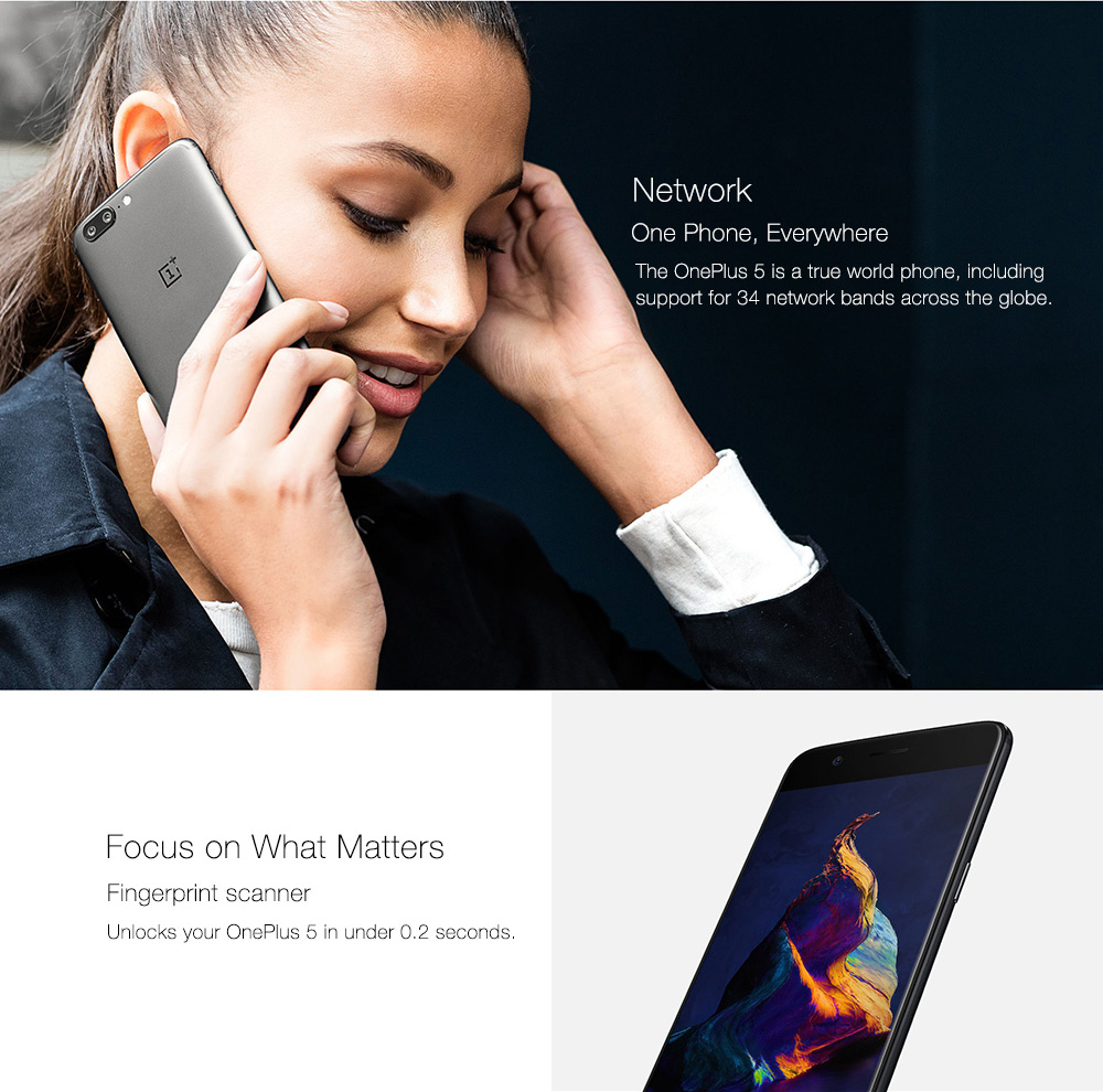 [Official Global ROM]OnePlus 5 5.5 Inch Smartphone FHD 8GB 128GB Snapdragon 835 Octa Core 20.0MP + 16.0MP Dual Rear Cam Android 7.1 NFC Dash Charge Touch ID Type C - Midnight Black