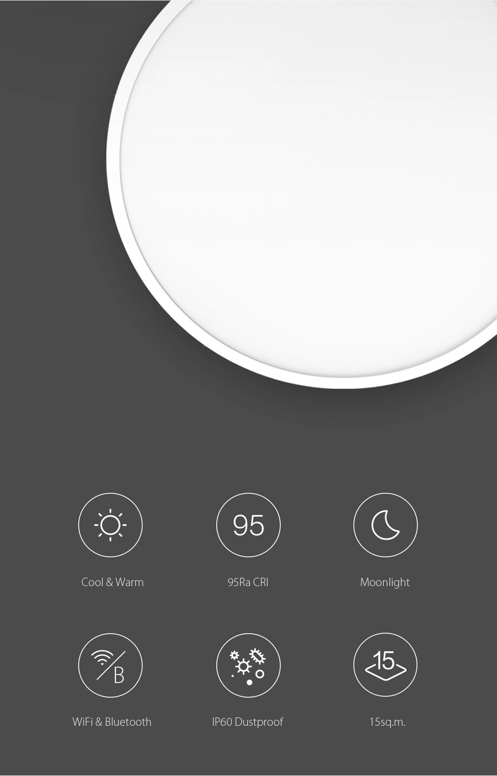 XIAOMI Yeelight Smart LED Ceiling Light Bluetooth APP Wireless Remote Control IP60 Dustproof Multiple Scene Modes