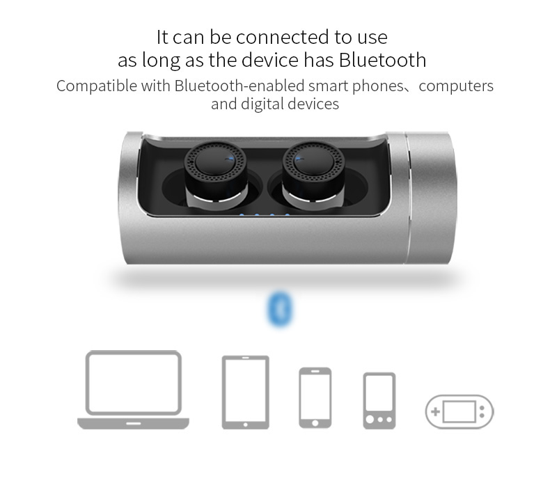 Ovevo Q62 Wireless Bluetooth Earbuds with Charging Dock 800mAh Battery CVC 6.0 Noise Cancelling - Black