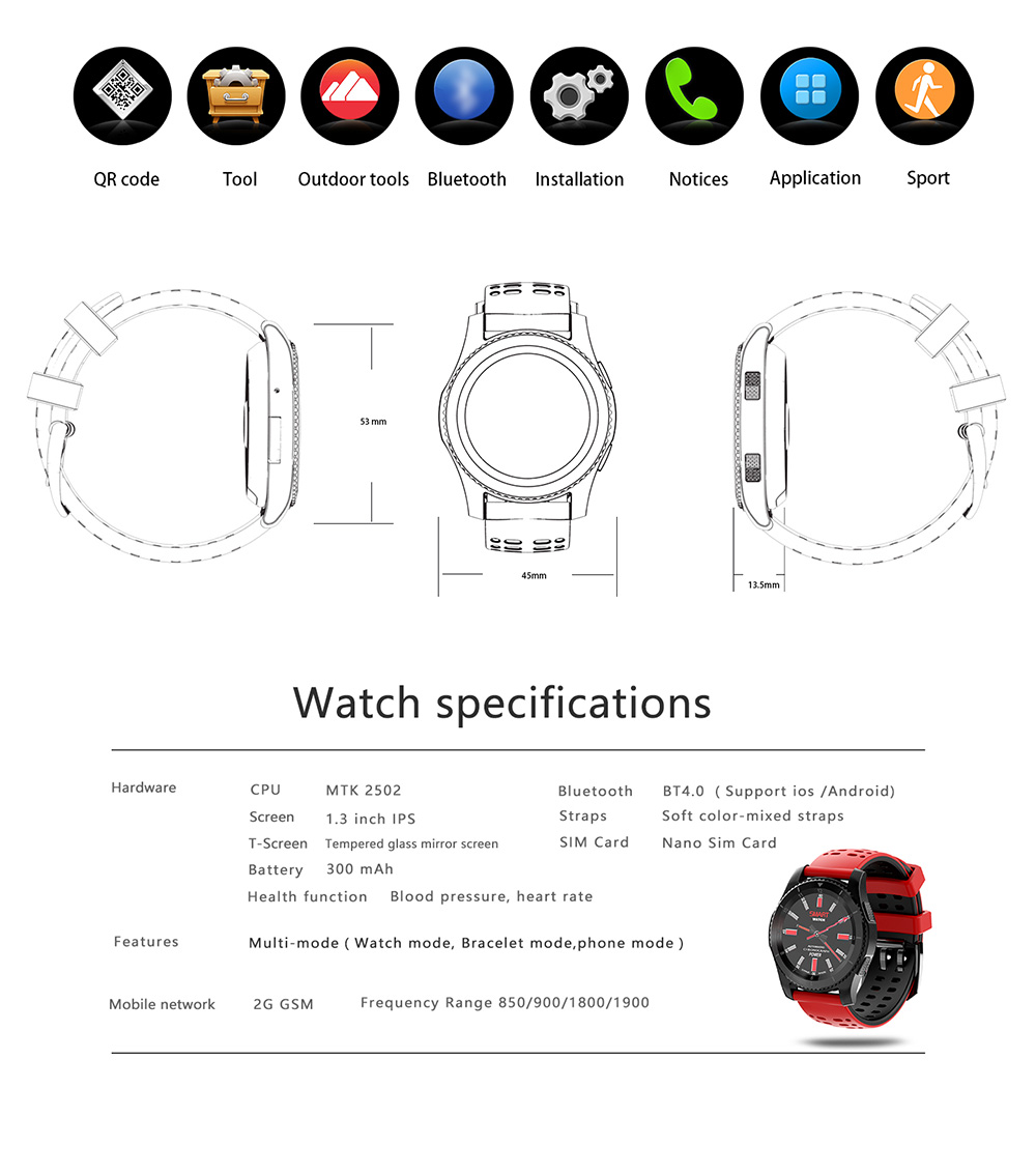 Makibes W02 Smartwatch Phone MTK2502 Bluetooth 4.0 SIM Card Call Message Reminder Heart Rate Monitor Compatible with Android iOS - Black & Green