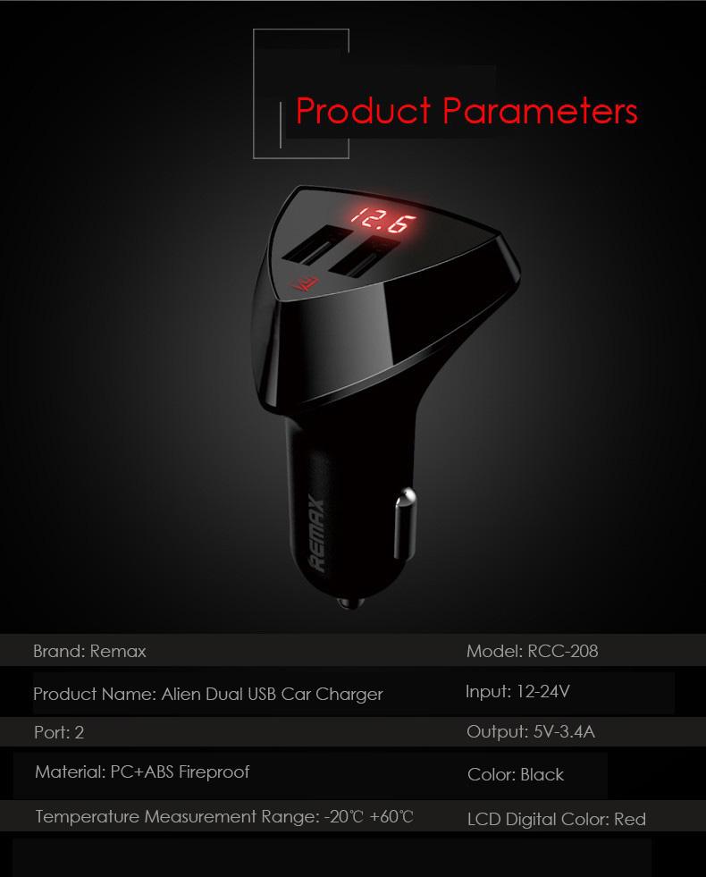 Remax RCC-208 5V 3.4A Fast Charging Universal Dual USB Smart Car Charger with Digital LED Display - Black