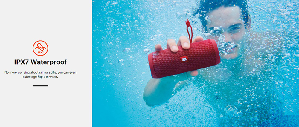 [HK Stock] JBL Flip 4 Wireless Bluetooth Speaker Music Kaleidoscope 4 Bass IPX7 Water-resistant - Red