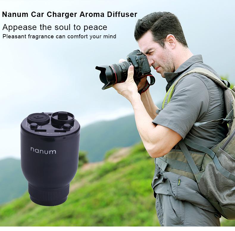 Nanum KXQ01 Car Charger Aroma Diffuser Cup Holder Car Cigarette Lighter Socket Car Air Purifier Dual USB Ports - White