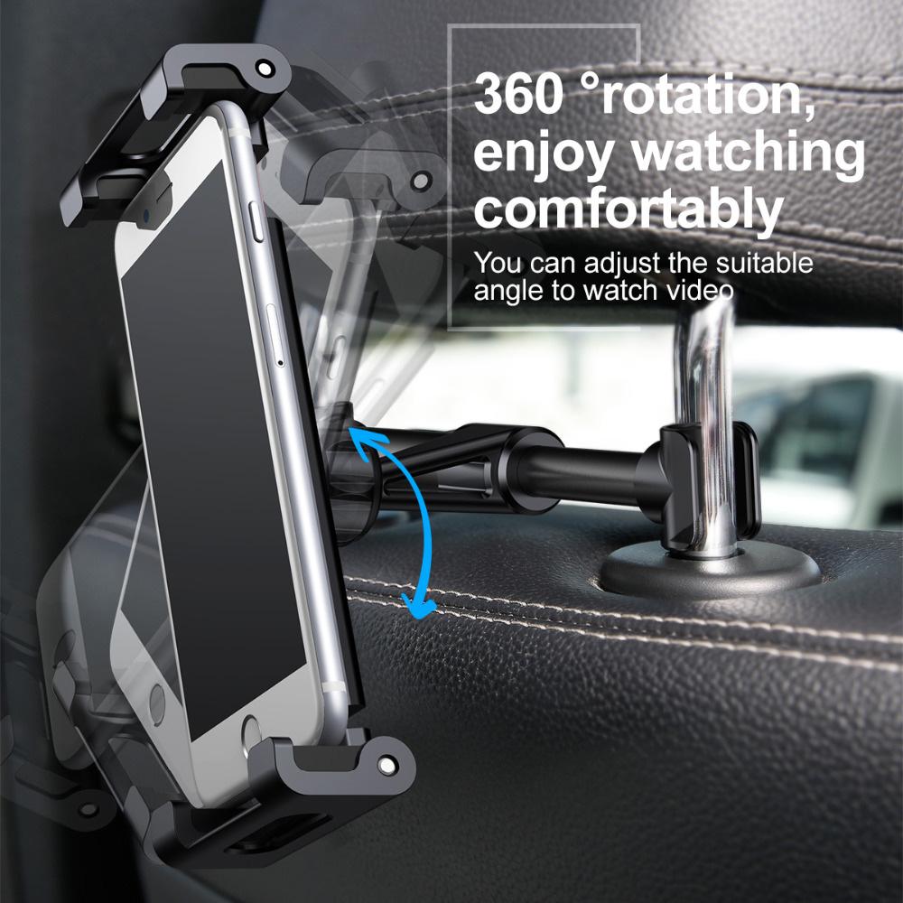 Baseus SUHZ-01 360 Degree Rotation Headrest Bracket Adjustable Car Backseat Holder for Cellphones/Tablets - Black