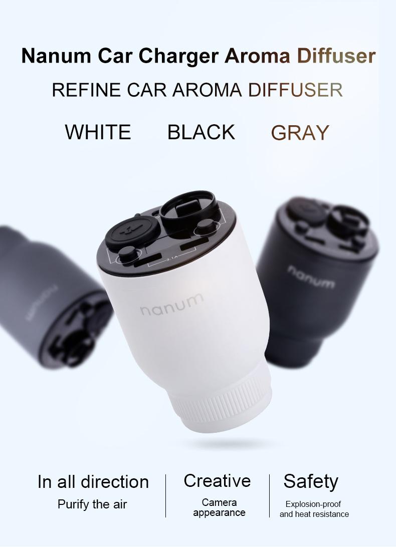 Nanum KXQ01 Car Charger Aroma Diffuser Cup Holder Car Cigarette Lighter Socket Car Air Purifier Dual USB Ports - Gray