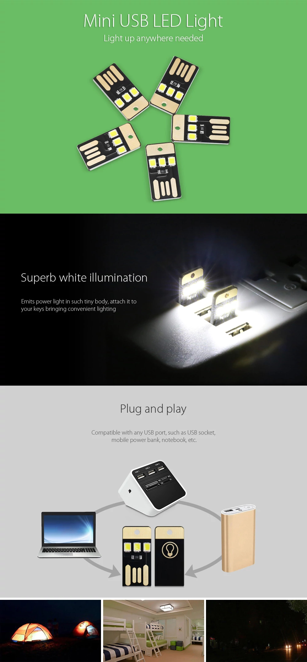 Touch Switch USB mobile power camping lamp 3 LED night light White lamp Mini