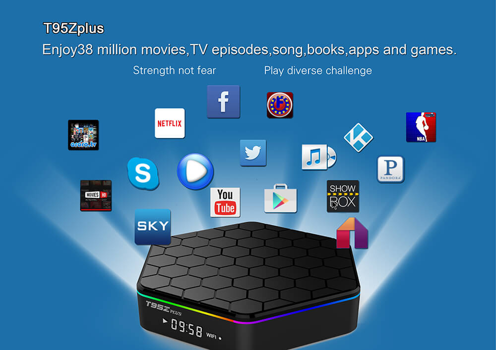 T95Z Plus DDR4 3GB eMMC 32GB KODI 17.1 4K TV BOX Android 7.1 Amlogic S912 2.4G/5G WIFI Gigabit LAN Bluetooth HDMI
