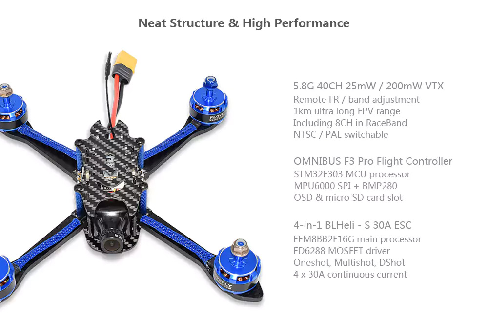 BFight 210 Brushless FPV Racing Drone 5.8G 40CH Omnibus F3 Pro OSD 30A BLHeli_S Flysky AFHDS 2A Receiver - BNF