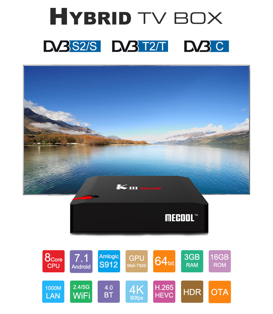 MECOOL KIII PRO DVB-T2/S2/C Android 7.1 S912 3GB/16GB TV BOX 4K KODI 17.0 802.11AC WIFI Bluetooth 1000M LAN