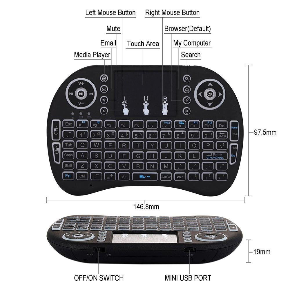 i8 Tri-color Backlight 2.4Ghz Wireless Air Mouse Mini Keyboard Touchpad Smart Remote for PC/Android TV Box/HTPC/Smart TV - Black