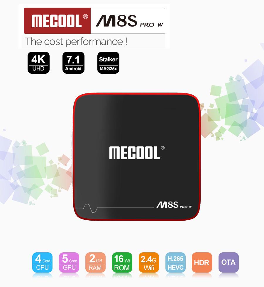 MECOOL M8S PRO W S905W 2GB+16GB Android 7.1 TV BOX Quad Core 2.4G WiFi 4K Media