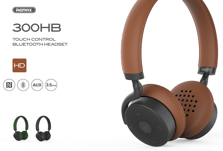 REMAX 300HB Bluetooth V4.1 Headphone with Mic Touch Control 3D Sound Bass NFC - Brown