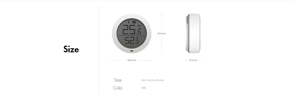Xiaomi Mijia Bluetooth Temperature Humidity Monitor Sensor APP Control Built-in Sensor LCD Display Magnetic Stick Ultra-Low Power Thermostat -White