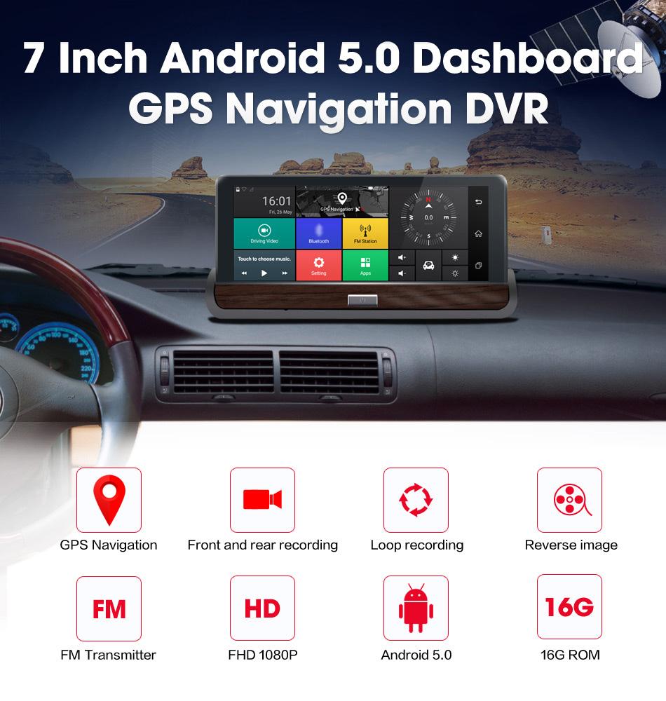 V40 Dual Lens 1080P Car Rearview Mirror DVR G-sensor Dash Cam Motion Detection
