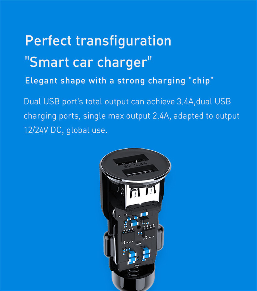 [International Edition] Original Xiaomi Roidmi 3S Music Bluetooth Car Charger Shrapnel Type 2.4A Fast Charge Dual USB  Ports - Black