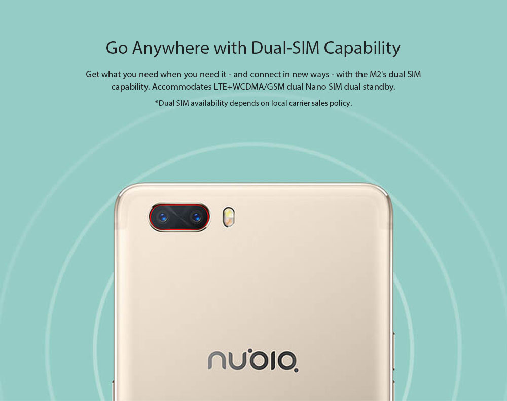 [HK Stock][Official Global Version]Nubia M2 NX551J 5.5 Inch Smartphone FHD Screen Snapdragon 625 Octa Core A53 2.0GHz 4GB 64GB 13.0MP Dual Rear Camera Touch ID Metal Unibody - Champagne Gold