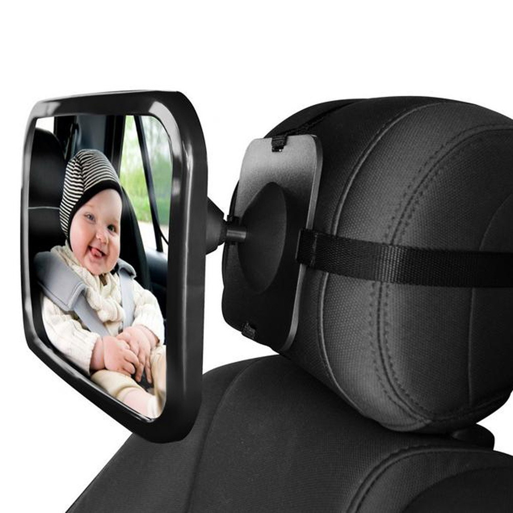 HX-M1001 Rear View Mirror Disc Type Baby Rearview Mirror 360 Degree Rotation In Car Interior Trim - Black