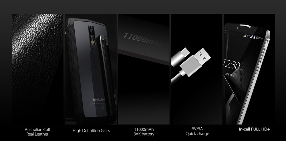 [HK Stock]Blackview P10000 Pro  5.99 Inch Smartphone MT6763 4GB 64GB 16.0MP+0.3MP Dual Rear Cameras Android 7.1 OS 11000mAh Battery - Black