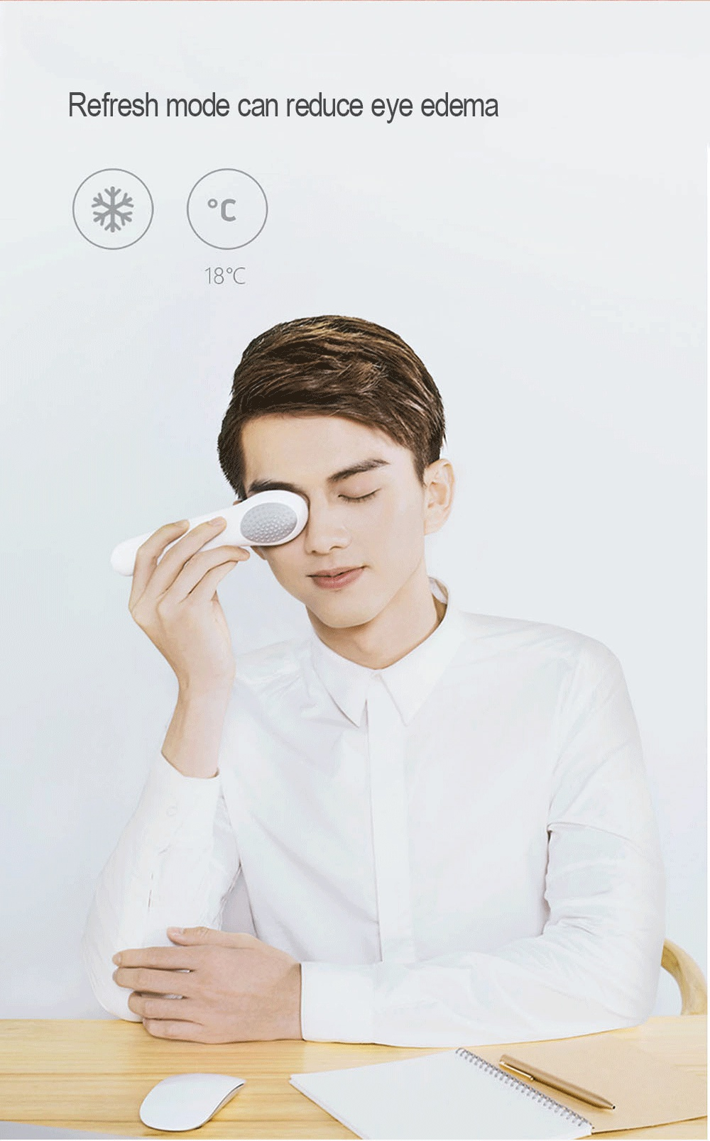 Xiaomi Lefan Cold Warm Eye Massager Built-in Semiconductor Refrigerator Auto Sensor Tablet with USB Port Eye Massager -Silver
