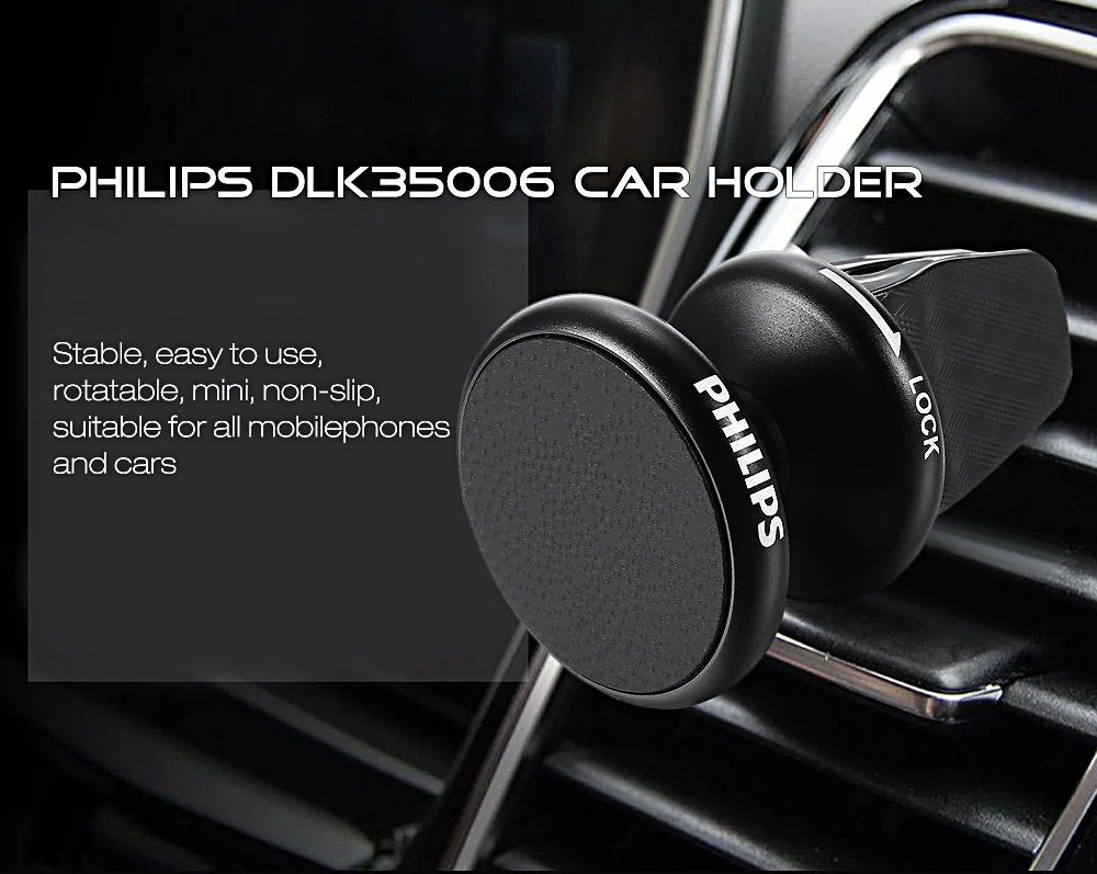 Philips DLK35006 Universal Car Mobile Phone Holder Outlet Magnetic Bracket For Tablet/Mobile Phone - Black