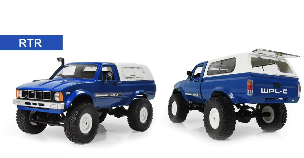 WPL C-24 2.4G 4WD 1:16 Off Road Rock Crawler Mosquito with Front LED RC Car RTR - Blue