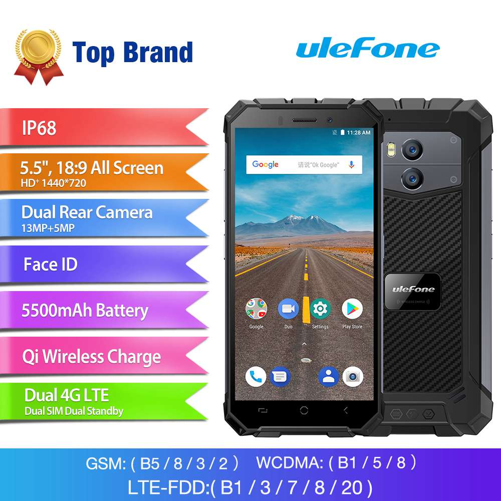 [HK Stock]Ulefone Armor X 5.5 Inch Waterproof IP68 4G Smartphone MT6739 2GB 16GB 13.0MP+5.0MP Dual Rear Cameras Android 8.1 NFC Face Recognition Wireless Charge - Gray
