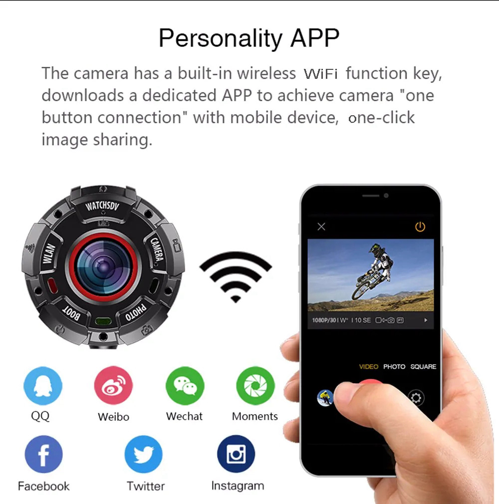 ZGPAX S222 Wearable Action Camera Sports DV DashCam Night Vision IP68 Waterproof Drop-resistant Dustproof FHD 1080P WIFI 140 Degree Wide Angle - Black