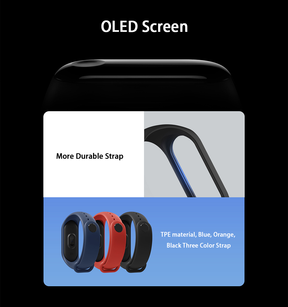"""Original Xiaomi Mi Band 3 Smart Bracelet 0.78"""" OLED Touch Screen 5ATM Water Resistant Sports Fitness Tracker Reject Phone Calls Notification Display Bluetooth 4.2 - Black"""